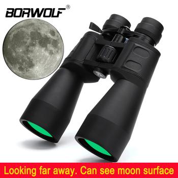 Borwolf 10-380X100 duże powiększenie daleki zasięg zoom 10-60 razy teleskop myśliwski lornetka HD professional Zoom tanie i dobre opinie Binoculars BAK4 10-60 times 60mm 15mm Multi-layer wide band green film 240mmX200mmx75mm 950g 320mmX300mmX160mm 1 8kg Black