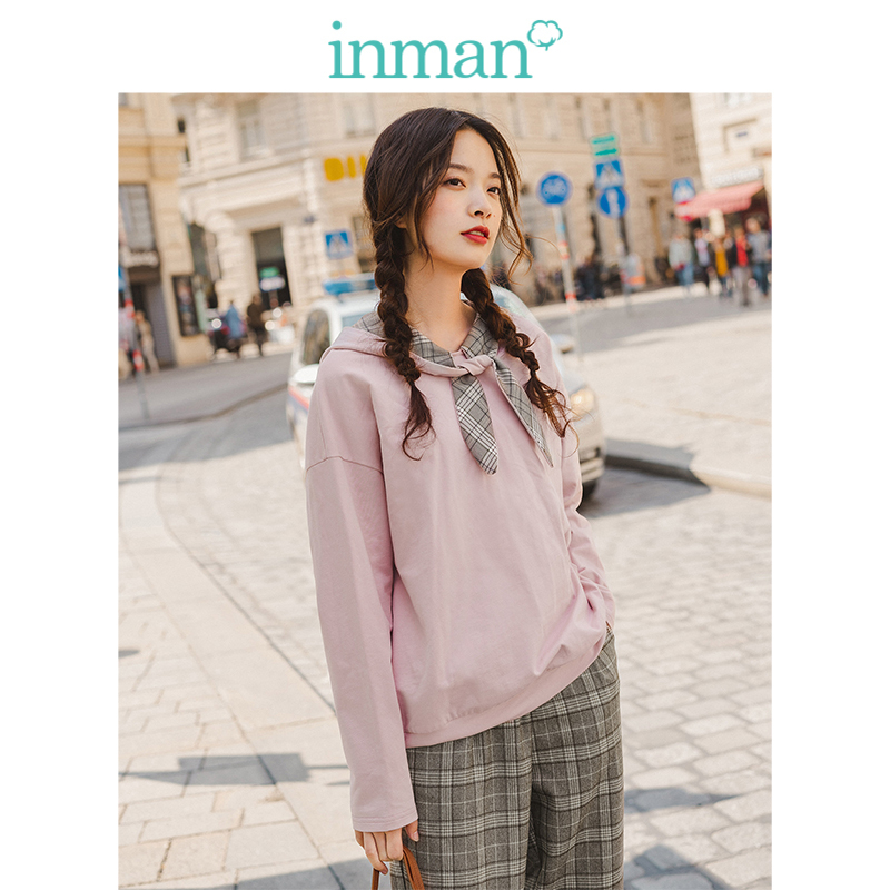 INMAN 2019 Autumn New Arrival Cute Contrast Lacing Young Girl Solid Loose Literary Women Hoodies
