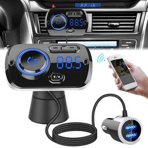 Image 3 - Bluetooth 5.0 Auto Fm zender Auto Fm Modulator Audio Receiver Draadloze MP3 Speler Tf Card Fast Charger Met 7 Kleuren lamp