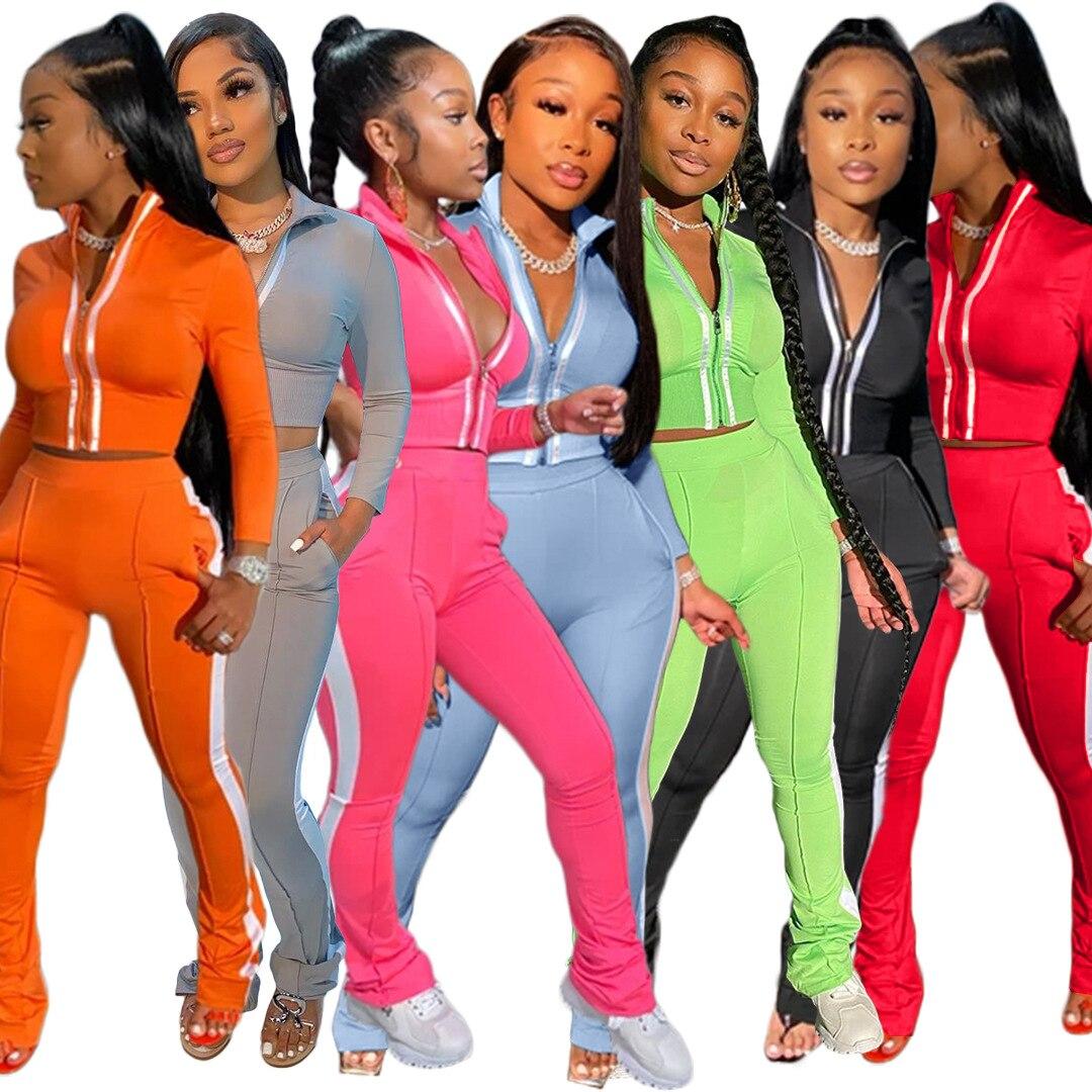 Echoine kadın Splice İki parça Set eşofman sonbahar giyim kırpma üst ve pantolon eşofman salonu aşınma kıyafetler 2 adet eşleşen setleri