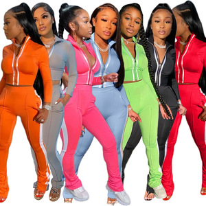 Echoine Women Splice Two Piece Set Tracksuit Fall Clothes Crop Top And Pants Sweat Suit Lounge Wear Outfits 2 Pcs Matching Sets