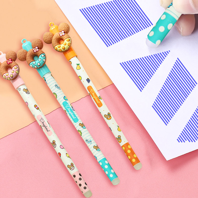 Novelty Erasable Blue Ink Gel Pen 0.5mm Cute Donuts Neutral Pens For Kids Girls Gifts School Writing Supplies Korean Stationery