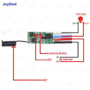 Image 3 - 433mhz DC 3.6V 6V 12V 24V 1CH Mini Relay Wireless RF Remote Control Switch Power LED Lamp Controller Micro Receiver Transmitter