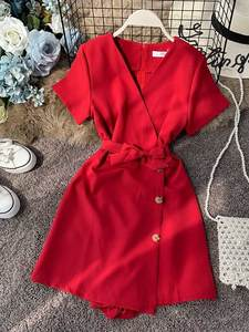 Romper Short Red Jumpsuit Wide-Pants Nicemix Summer Sleeves Sexy V-Neck Solid Beach-Style