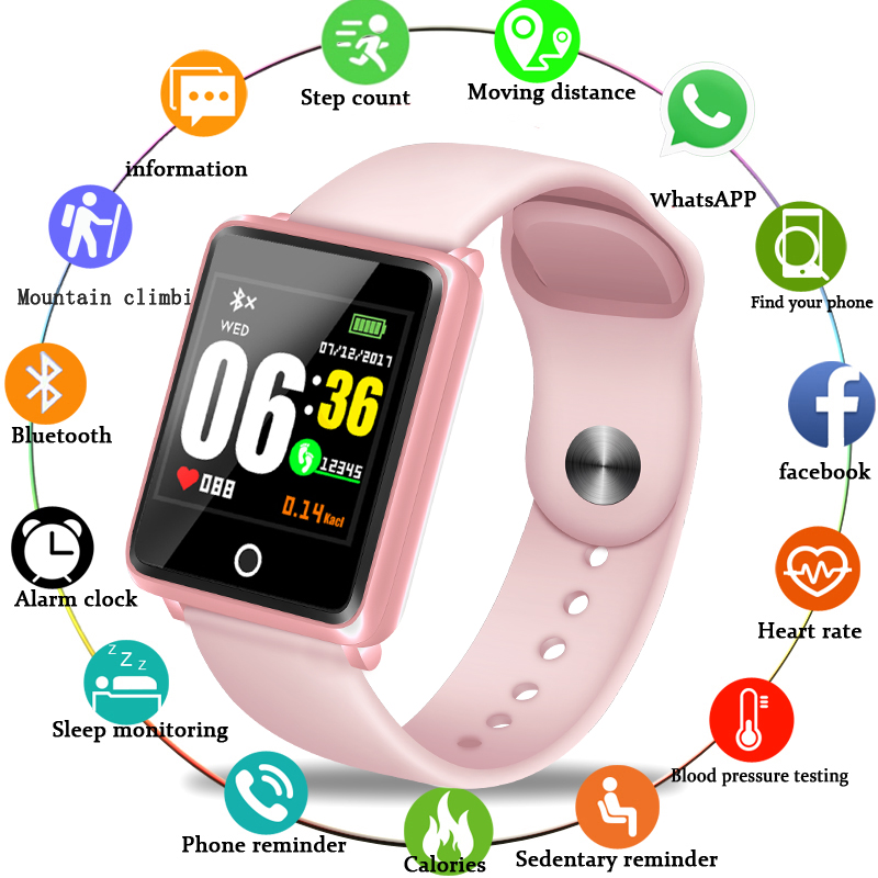 LIGE New Women Watch Waterproof Fitness Tracker Heart Rate Blood Pressure Monitor Pedometer For Android ios Sports Watch Women