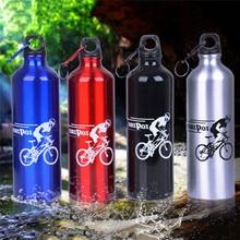 750ml 4 Color botella de agua portátil al aire libre deporte bicicleta ciclismo aleación de aluminio botella de agua deporte botella de agua tetera