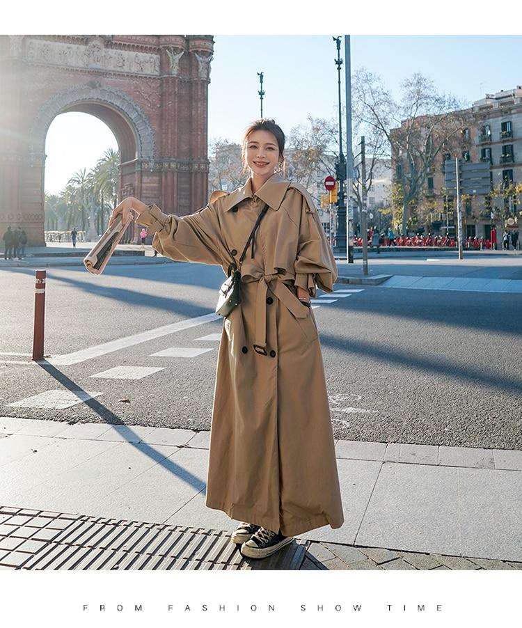 Hd2a2bb7463c04208b95140e2ac510d9dU Korean Style Loose Oversized X-Long Women's Trench Coat Double-Breasted Belted Lady Cloak Windbreaker Spring Fall Outerwear Grey