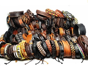 Image 3 - MixMax 50pcs/pack assorted retro Handmade mens top Genuine Leather tribal surfer cuff bracelets mix styles