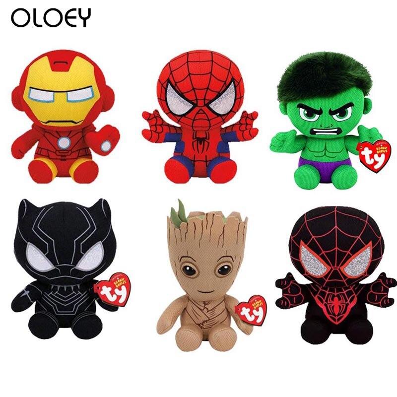 Marvel Super Hero Series Iron-man Spider-man Hulk Black Panther Plush Toy Children Gift 20cm Regalos Para Fiestas Infantiles