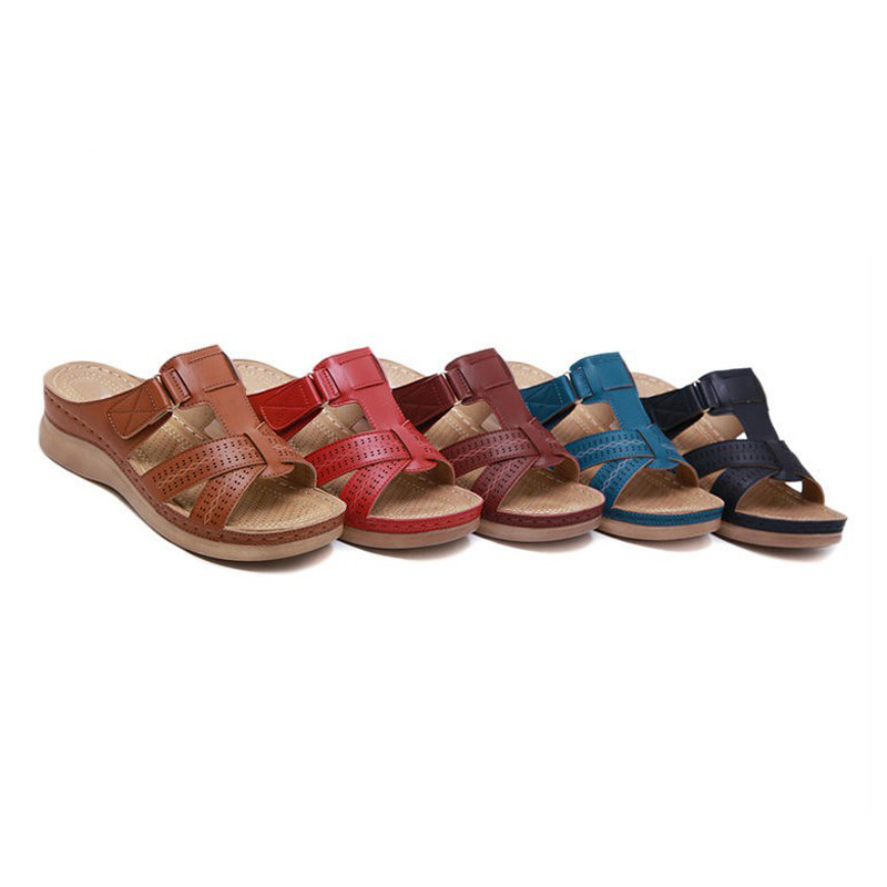 SHUJI Women's Slipper Open Toe Comfy Sandal Soft Premium Orthopedic Low Heels Walking Sandals Toe Corrector Cushion DropShipping
