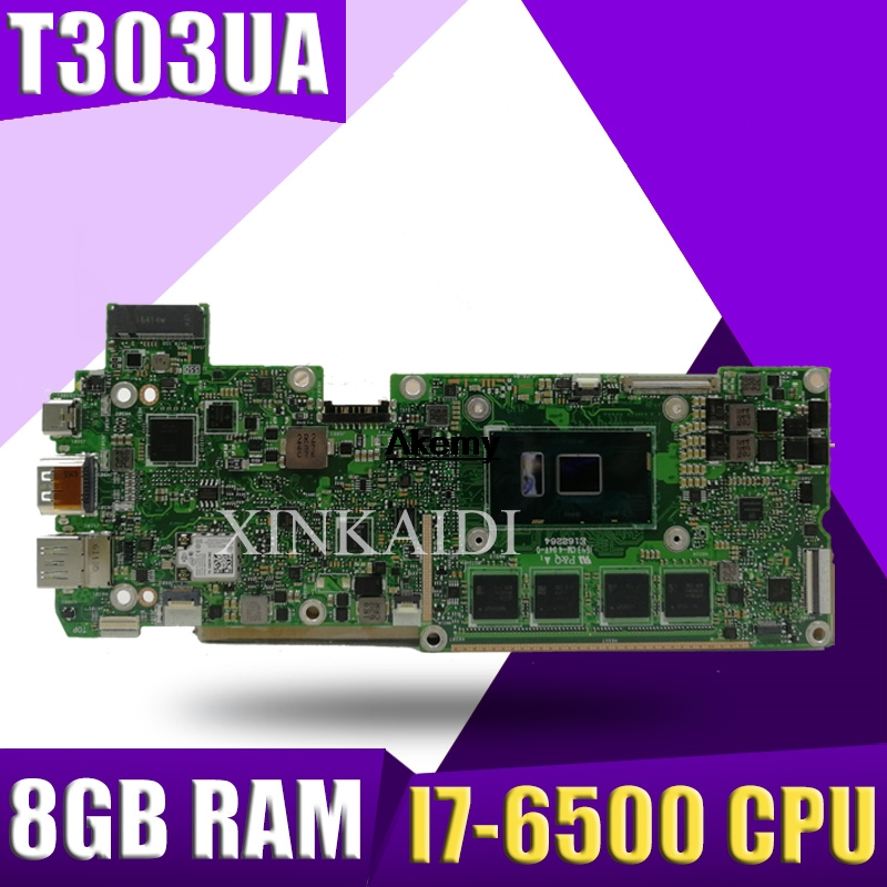 T303UA Motherboard  With  I7-6500 CPU 8GB RAM  For ASUS T303 T303U T303UA  Laptop Mainboard 100% Tested Working Free Shipping