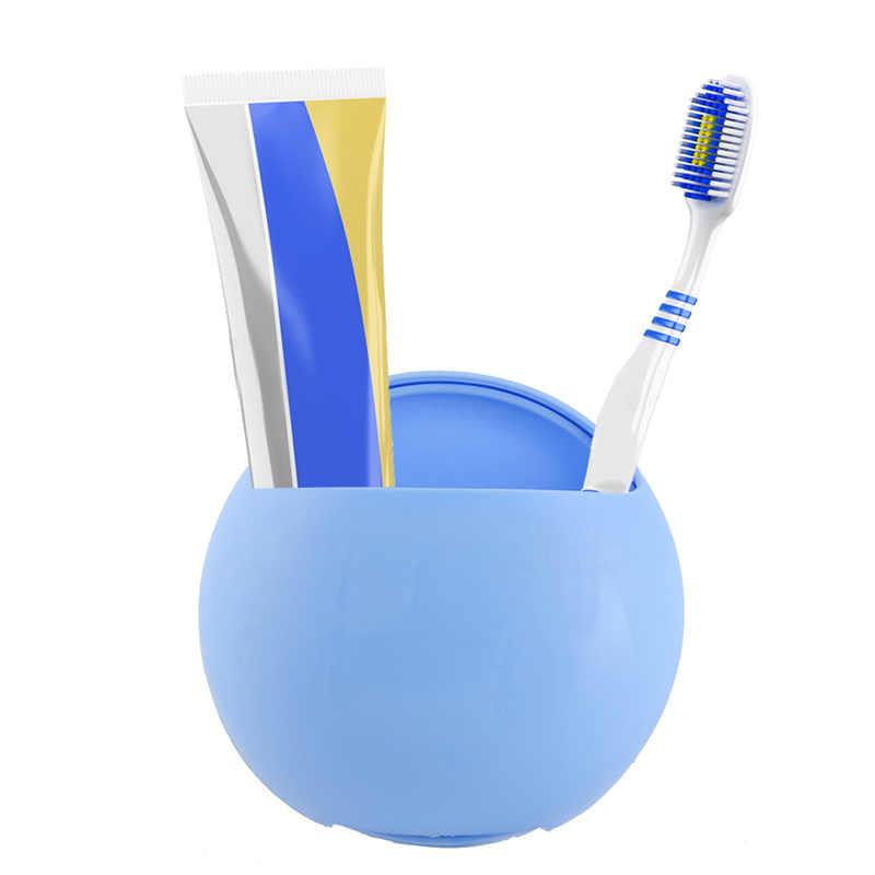 Z tworzywa sztucznego Sucker uchwyt na szczoteczki i pastę do zębów przyssawki puchary powiesić na łazienka Ware Sucker ściany pudełko do przechowywania akcesoria