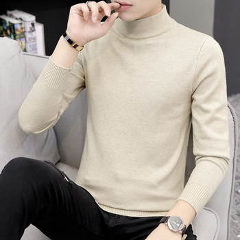2019 Men Turtleneck Sweater Autumn Winter Solid Color Casual Sweater Men's Slim Fit Knitted Pullovers Bottoming Jumper