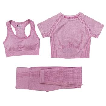Seamless Women Vital Yoga Set Workout Shirts Sport Pants Bra Gym Clothing Short Crop Top High Waist Running Leggings Sports Set 24