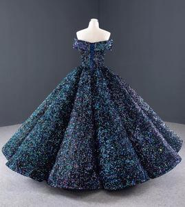 Image 3 - J66991 Jancember Blue Quinceanera Dress Sweetheart Short Sleeves Off The Shoulder Sequined Party Dress For Plus Size Vestido 16
