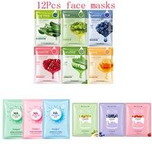 цена на 12Pcs Mixed Plant fruit strawberry Hyaluronic Acid Face Mask Moisturizing Shrink Pores Anti-Aging Facial Mask Korean Skin Care
