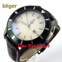 Bliger 46mm white sterial dial date green bezel luminous black PVD case deployant clasp Automatic men's watch 504 Mechanical Watches Watches -