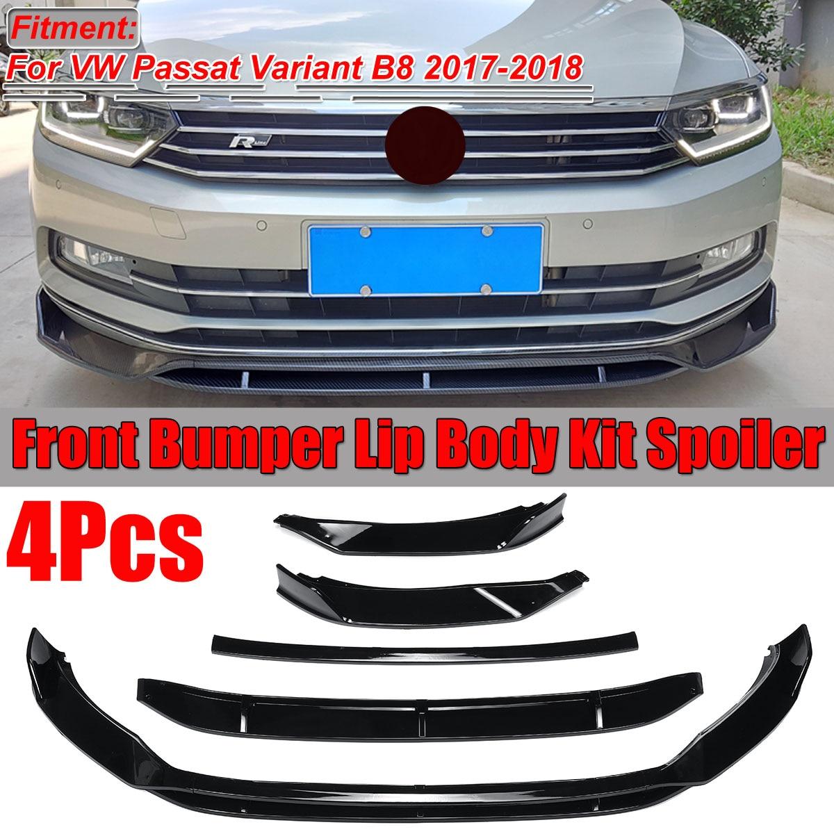 4Pcs Carbon Fiber Look / Black Car Front Bumper Splitter Lip Spoiler Diffuser Cover Protector For VW Passat Variant B8 2017-2018