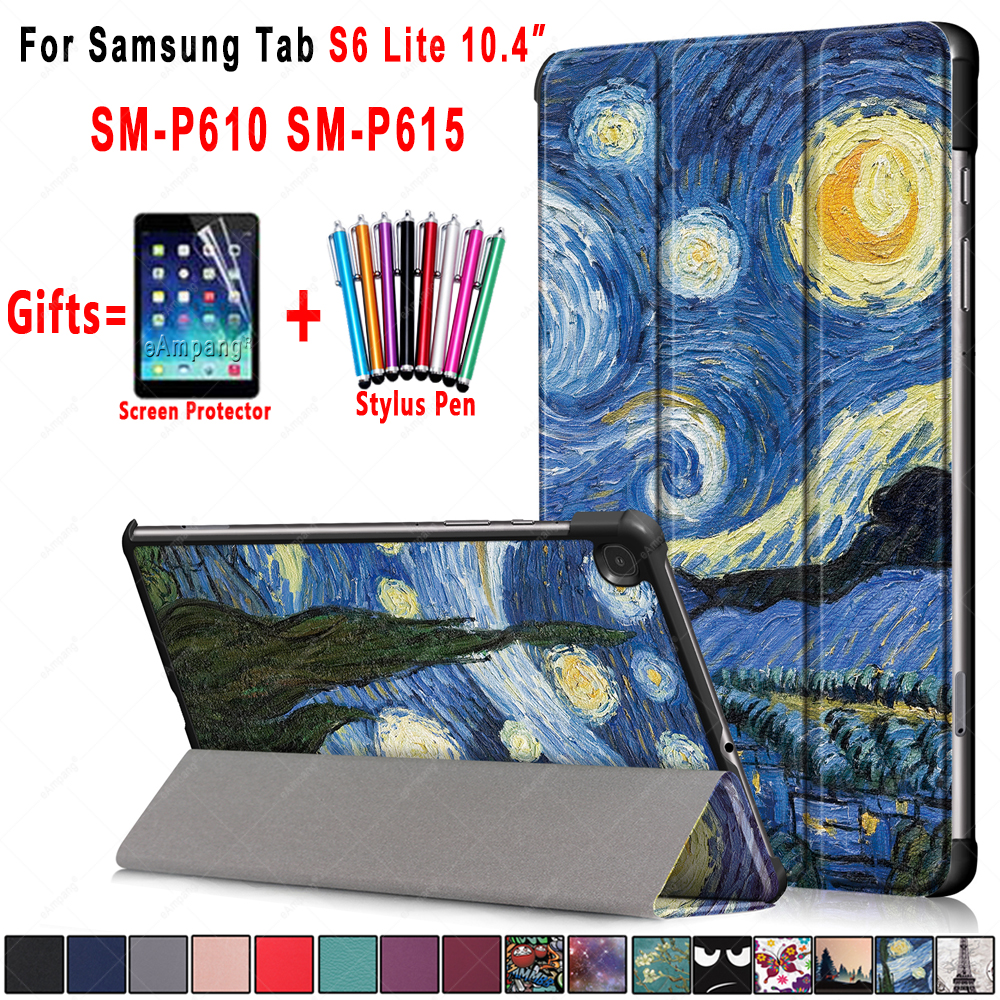 Fashion Pattern PU Leather Foldable Stand Case  For Samsung Galaxy Tab S6 Lite 10.4 Case Cover P610 P615 SM-P610 SM-P615 Funda