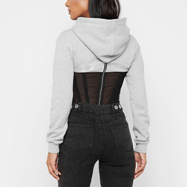 OMSJ Womens Pullover Sweatshirts Long Sleeve Autumn 2019 Black/Gray Mesh See-through Lace Striped Patchwork Hoodies Casual Hoody 4