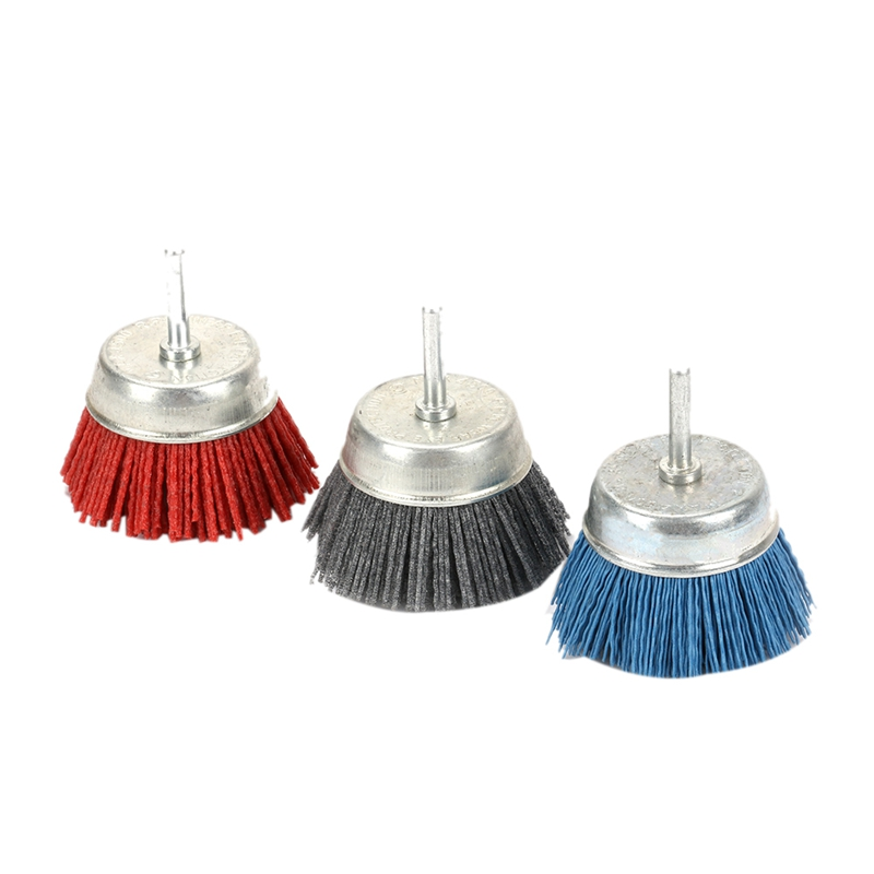 3Pcs 3 Inch 75Mm Dia Cup Shaped Abrasive Nylon Wire Polishing Cleaning Brush With 6Mm Shank Brushes Set Rotary Tools 80/120/240|Polishers| |  - title=