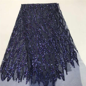 Sparkling blue sequined African lace fabric, high quality Nigerian lace fabric, handmade embroidery for wedding evening dress