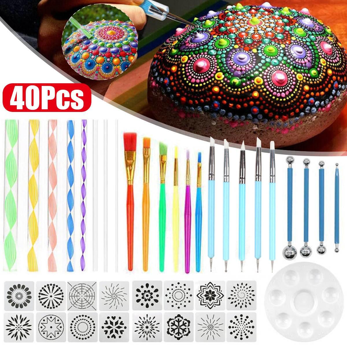 40Pcs/set DIY Mandala Dotting Tools Set For Painting Rocks Dot Kit Rock Stone Painting Pen Polka Dot Art Tool Template Cosmetic