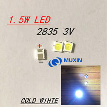 200 pces para retroiluminação led de alta potência led 1.5w 3v 1210 3528 2835 131lm branco fresco lcd backlight para tv aplicação