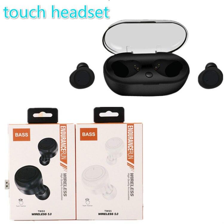tws 5 sport Wireless Headphone Bluetooth Intelligent Touch headset dual call For iphone x xs samsung huawei xiaomi