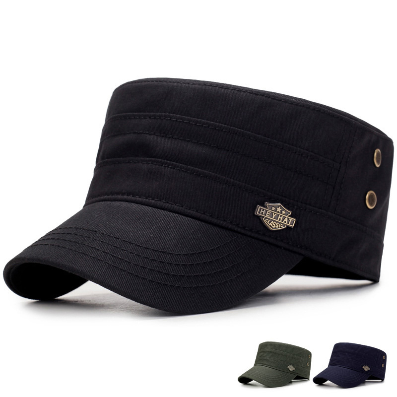 Men's Autumn And Winter outdoor Cotton military cap Middle-aged Sun Hat Flat cap Letter mark beret hat Baseball cap with Air Hole A74