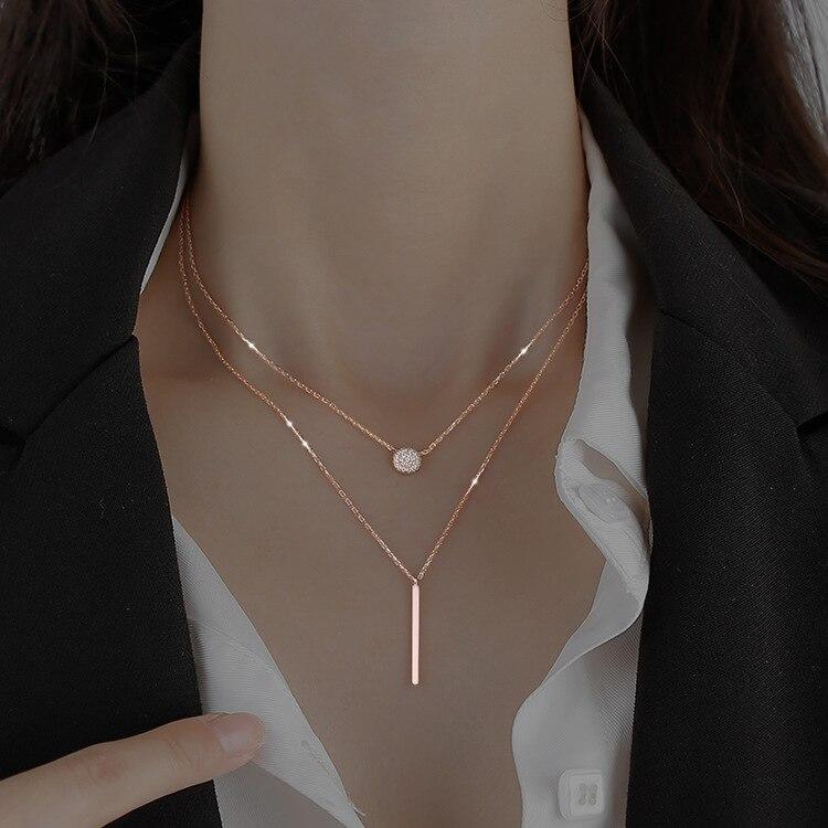 Новое Двухслойное ожерелье с подвеской-гирляндой, модная цепочка до ключиц с холодным ветром, женское простое темпераментное ожерелье