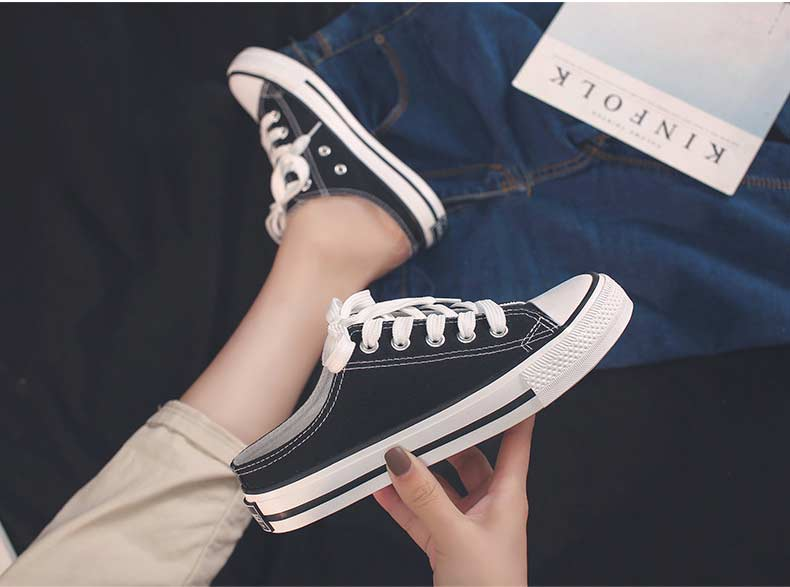 Casual half-drag canvas shoes woman 2019 new fashion solid sneakers women vulcanized shoes lace-up no heel lazy shoes flats (6)