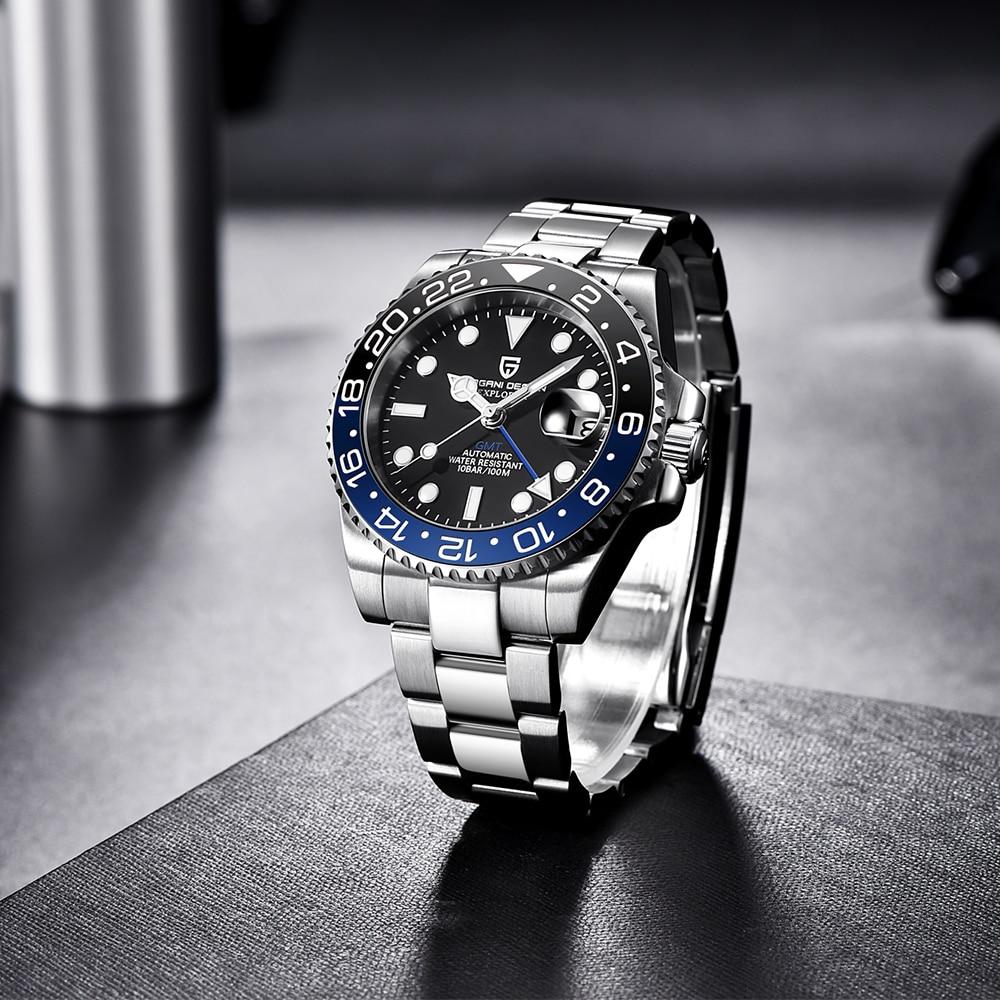 PAGANI DESIGN 2020 Luxury Men Mechanical Wristwatch Stainless Steel GMT Watch Top Brand Sapphire Glass Men Watches reloj hombre 5
