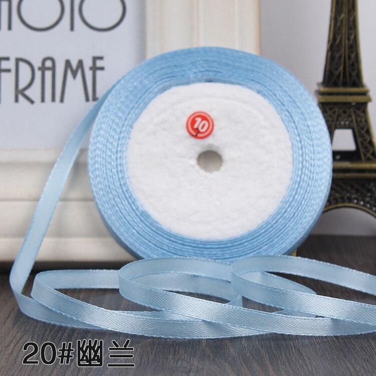 """22 метра(25 ярдов) Шелковая атласная лента 1/""""(6 мм) вечерние украшения для дома, свадьбы, подарочная упаковка, материал для рукоделия на Рождество, год - Цвет: sky blue"""