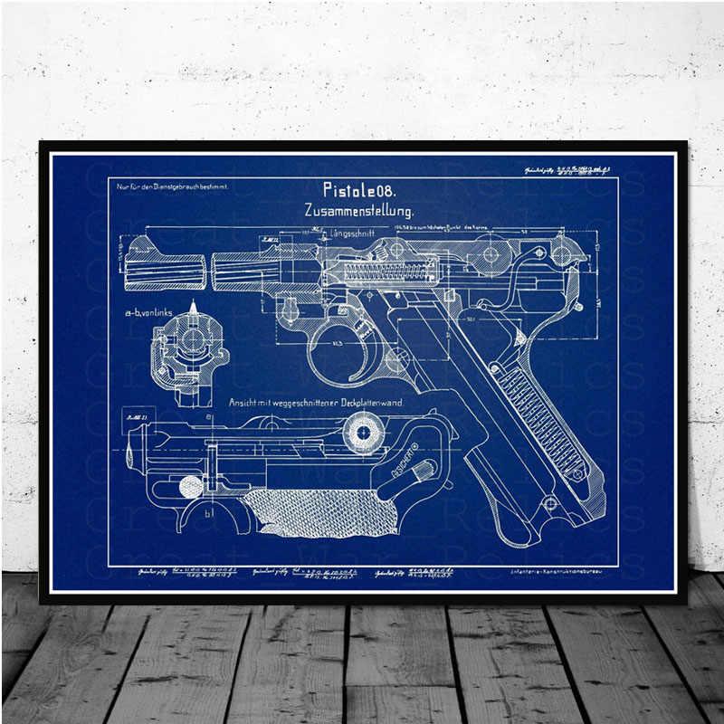 Cartel e impresiones Luger Pistol charol Blueprint Gun Chart pintura moderna arte pintura cuadros de pared para la decoración del hogar de la sala de estar
