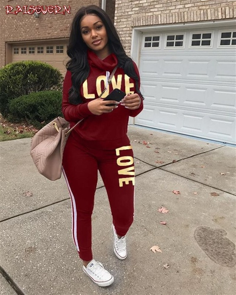 RAISEVERN 2019 Autumn Casual Pink Letter Print 2 Piece Women Set Hooded Full Sleeve Full Length Tracksuit Lady Bodycon Set