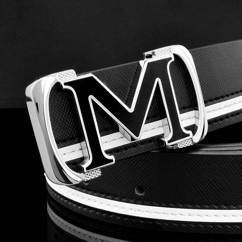 Casual off white letter M men genuine leather belt fashion luxury brand fancy vintage jeans waist belt cintos para hombre marca