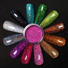 Holographics порошок для ногтей, для нанесения с помощью клея лазерным вырезами; Серебристые и красный блестящий прошок сверкающие Сияющие Блест...