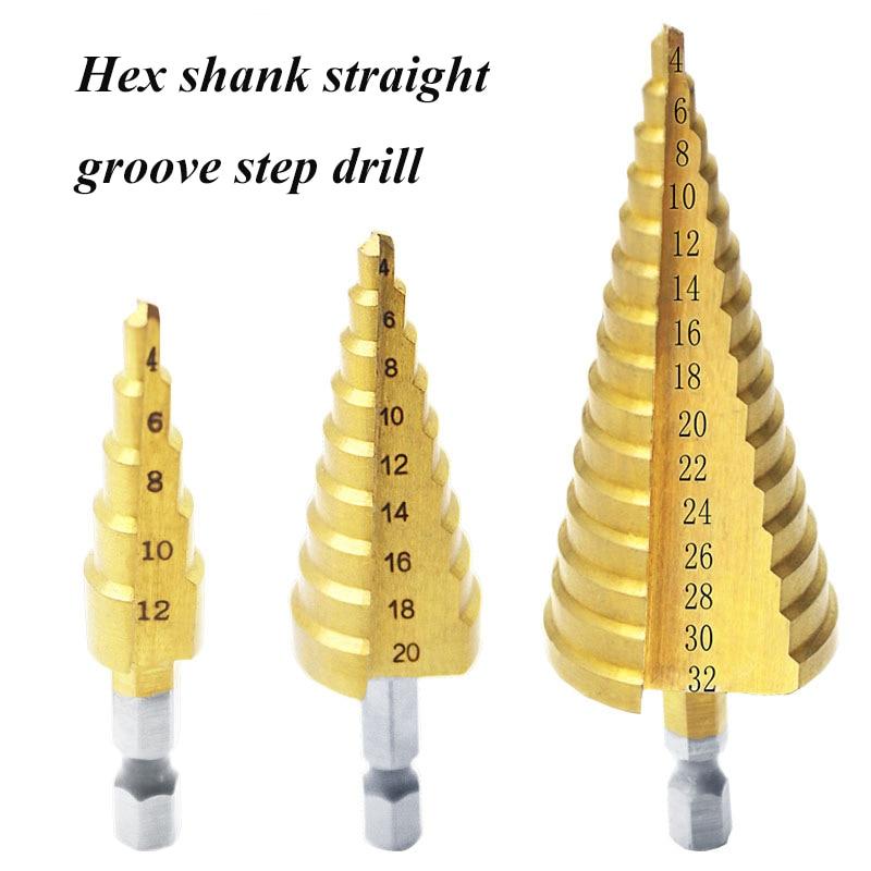 3PCS High Speed Steels Titanium Milling Cutter Drill Bit Wood Hole Cutter Cone Drill Step Cone Cutting Tool 4-32/4-20/4-12mm