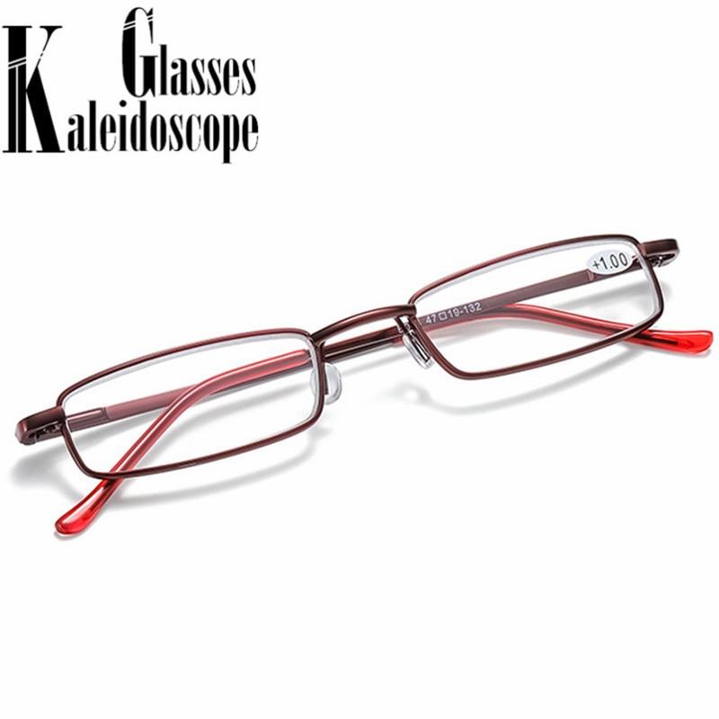 Portable lunettes de lecture femmes hommes Rectangle métal presbytie lunettes ultraléger hyperopie dioptrie lunettes + 1.5 2.5 whit box