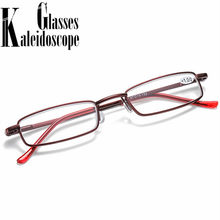 Óculos de leitura portátil feminino homem retângulo metal presbiopia óculos ultraleve hyperopia diopter + 1.5 2.5 whit caixa