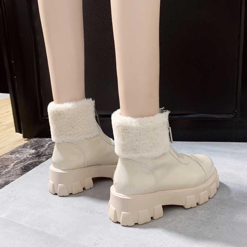 Deri kadın tıknaz çizmeler kış kalın kürk sıcak kadın platformu Sneakers 2019 moda savaş çizme kadın Martin ayakkabı