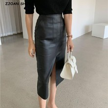 2020 New Front Slit PU leather Pencil Skirt Office Lady Korea Women Double pockets High Waist Package hips Mid Long Skirts Femme