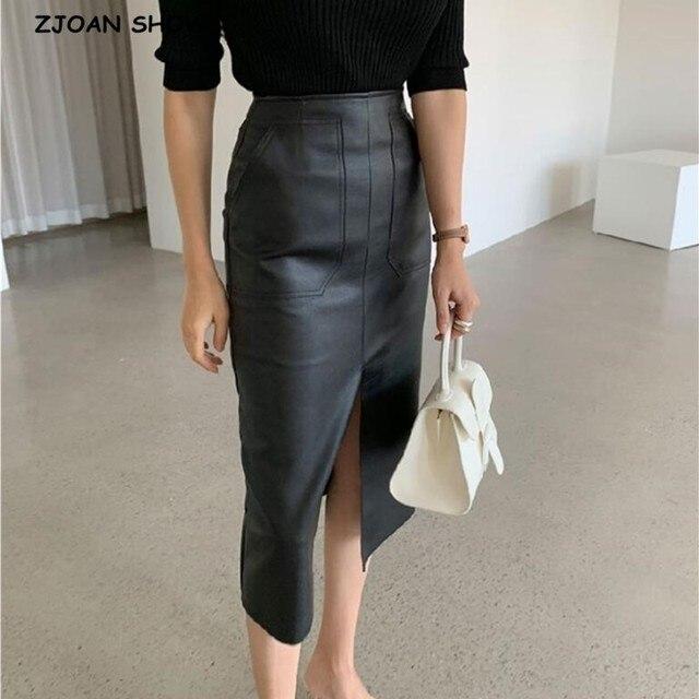 Jupe crayon en cuir PU pour femmes de bureau, Double poches, emballage taille haute, hanches mi longues, nouveauté 2020