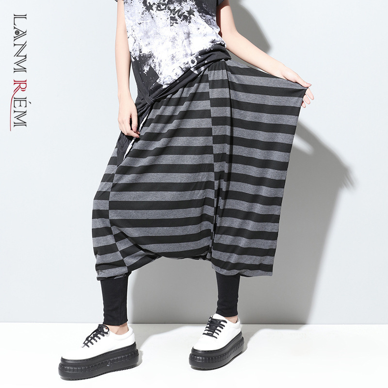 LANMREM Can Ship Black Grey Color Stripe Casual Pants For Women Women's Loose Wide Leg Harem Pants 2020 Spring Fashion New YH859