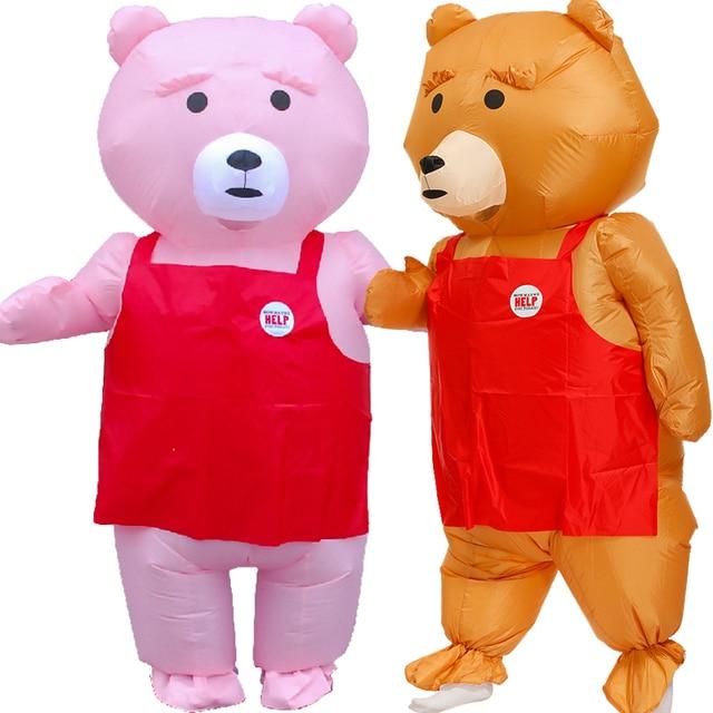 Drôle ours rose gonflable Costume pour Halloween adulte Cosplay fête Costumes de noël mascotte Disfraz carnaval jeu de rôle Costume