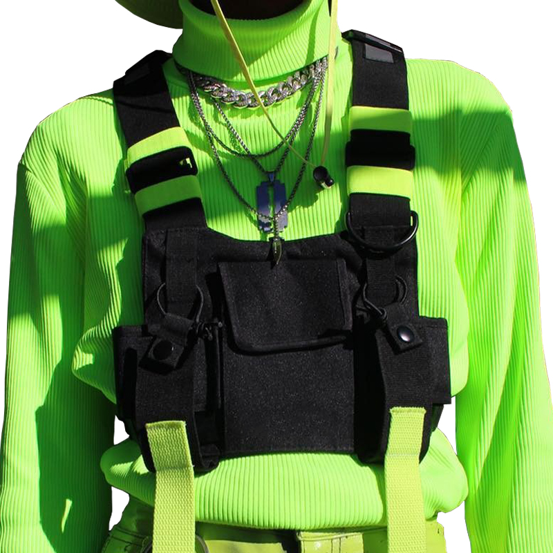 Chest Rig Bag Tactical Vest Harness Front Pack Pouch Holster Vest Rig Hip Hop Streetwear Functional Chest Bag For Men Waist Bag