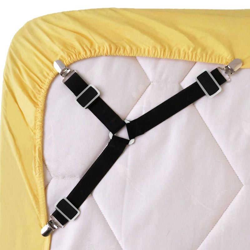 4Pcs Set Segitiga Tidur Tidur Tali Ikat Tali Lembar Kasur Pemegang Pengikat Grippers Klip Tali Selempang Mudah Penyesuaian Gesper