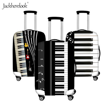 Jackherelook 3D Music Notes with Piano Keyboard Guitar Print Luggage Bag Protector Cover Travel Suitcase Dust/Dirty proof Sheet image
