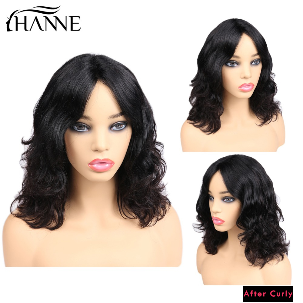 Natural Wave Lace Front Human Hair Wigs Middle Part Lace Short Remy Wig For Black Women Perruque Cheveux Humain 1B#/99J HANNE